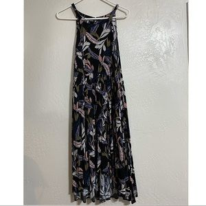 Torrid navy and feather print high low dress